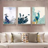 Tô điểm nét nghệ thuật cho phòng khách bằng tranh bộ treo tường hiện đại