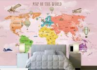 Decal dán tường bản đồ cho bé - trang trí phòng bé đầy sáng tạo