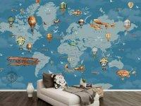 Decal dán tường hình bản đồ thế giới trang trí phòng bé yêu