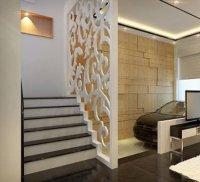 Ngăn khu vực cầu thang bằng vách ngăn gỗ CNC hiện đại