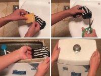 Chỉ với 1 chiếc tất cũ bạn sẽ giúp nhà vệ sinh luôn sạch sẽ