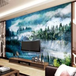 Trang trí nội thất hiện đại cùng tranh sơn thủy treo phòng khách