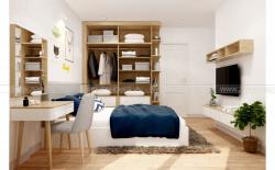 Tủ quần áo hiện đại với ván gỗ công nghiệp