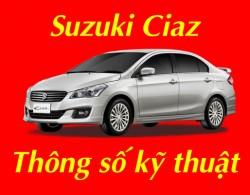 Thông số kỹ thuật xe Suzuki Ciaz