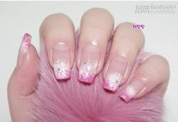 Gradation hồng với hoa tuyết