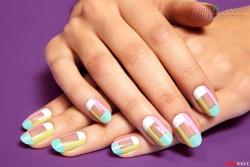 Học cách làm nail sọc Mani màu pastel