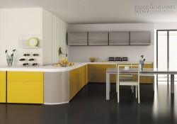 Không gian bếp đẹp với tủ bếp nhôm kính