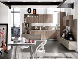 Thiết kế phòng bếp đẹp với tủ bếp gỗ tự nhiên