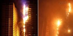 Lửa bao trùm tòa nhà chọc trời ở UAE
