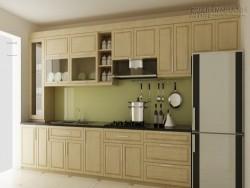 Phòng bếp đẹp với tủ bếp gỗ sồi