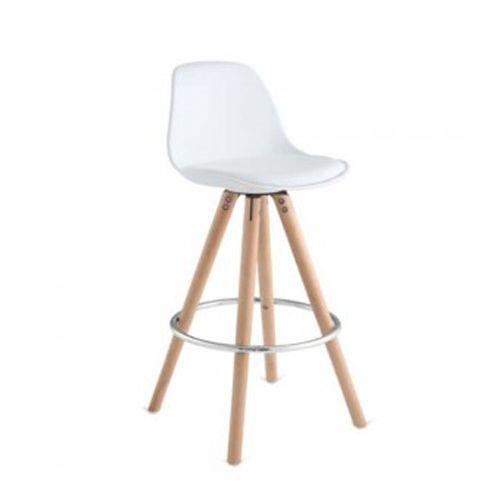 Ghế ngồi bàn bar thân nhựa nệm PVC chân gỗ nhập khẩu CB2136-P