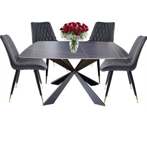 SD TN1222-14E / LUX 6C-P | Bộ bàn phòng ăn 4 6 người ngồi mặt đá phiến tự nhiên đẹp tại HCM