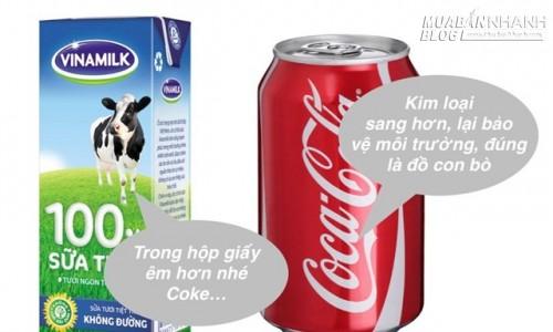 Vì sao sữa tươi Vinamilk đựng trong hộp chữ nhật, còn Coca lại chứa trong lon trụ tròn?, 69399, Nguyễn Thu Hương , Blog MuaBanNhanh, 16/04/2016 11:10:03