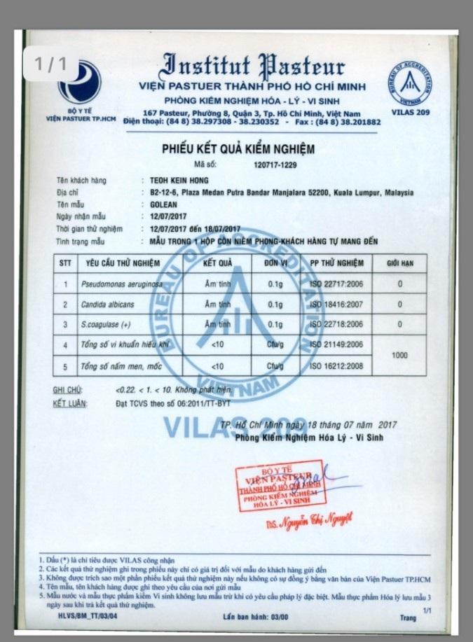 giấy chứng nhận golean Detox