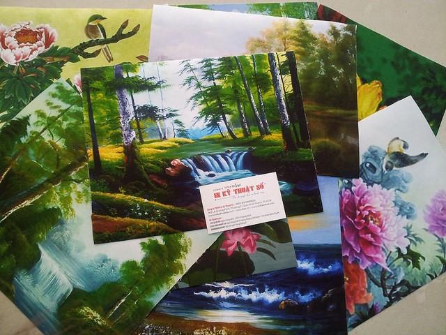 In tranh thủy mặc trên nền chất liệu canvas tại In Kỹ Thuật Số
