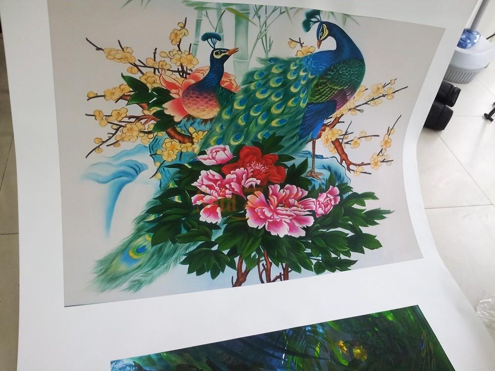 In tranh treo tường phong cách phương Đông trên chất liệu canvas