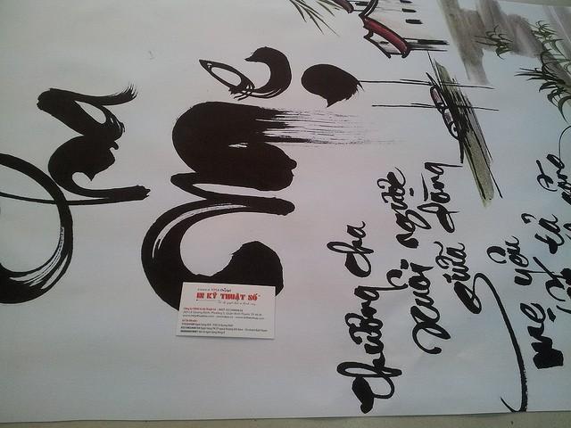 In tranh thư pháp trên chất liệu canvas