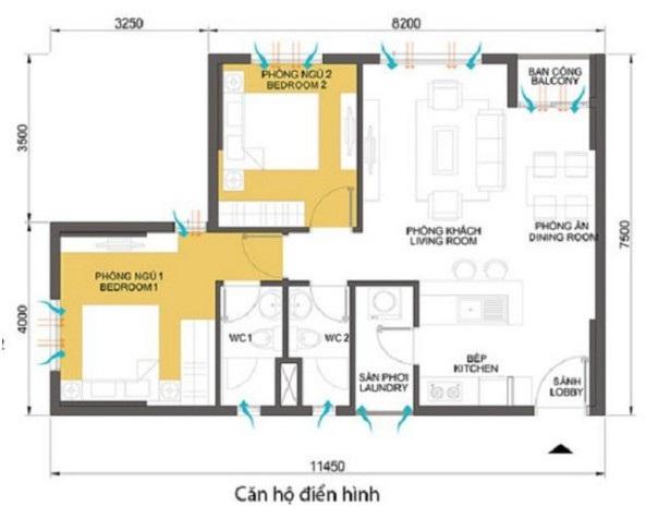 Tư vấn: cách bố trí nội thất căn hộ 70m² với 2 phòng ngủ gọn thoáng và hợp phong thủy