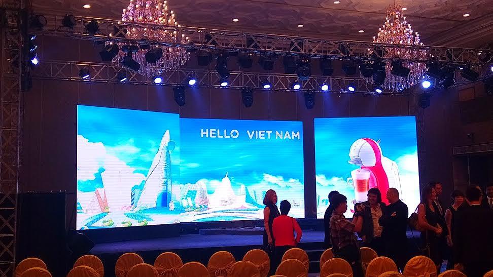 Cho thuê màn hình Led P3 - Lễ ra mắt máy pha chế cà phê MiNi Me của hãng Nestllé Việt Nam