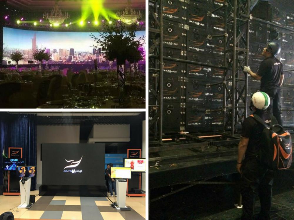 Cho thuê màn hình Led - lập trình tương tác Interactive Video Wall Elevator Flooring