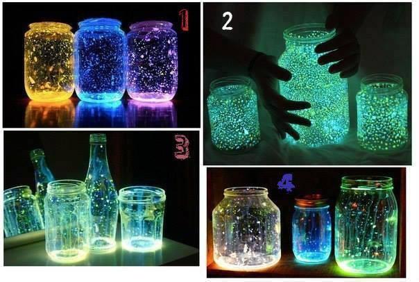 Cách làm lọ thủy tinh phát sáng từ bột dạ quang