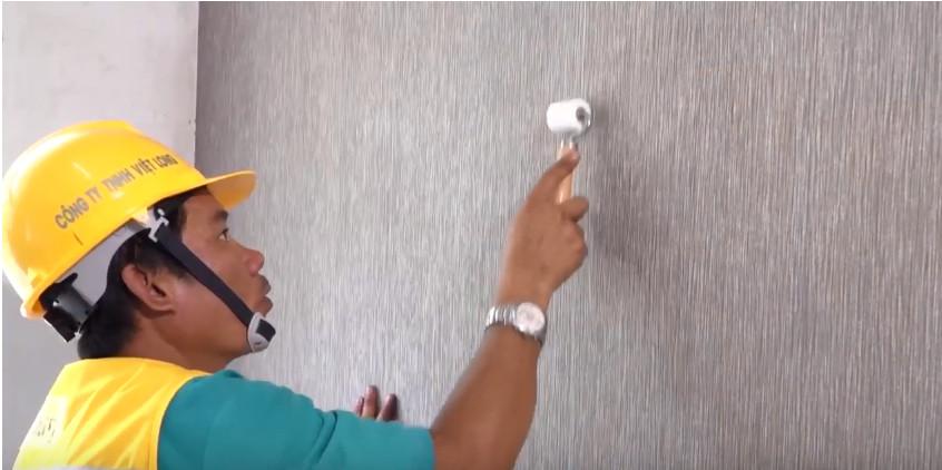 Thi công vải dán tường cách âm - vải dán tường sợi thủy tinh cho phòng ngủ căn hộ