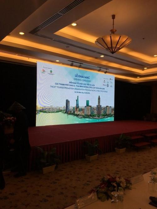 Lắp đặt màn hình Led P4 sự kiện lễ khai mạc tại khách sạn Rex Hotel