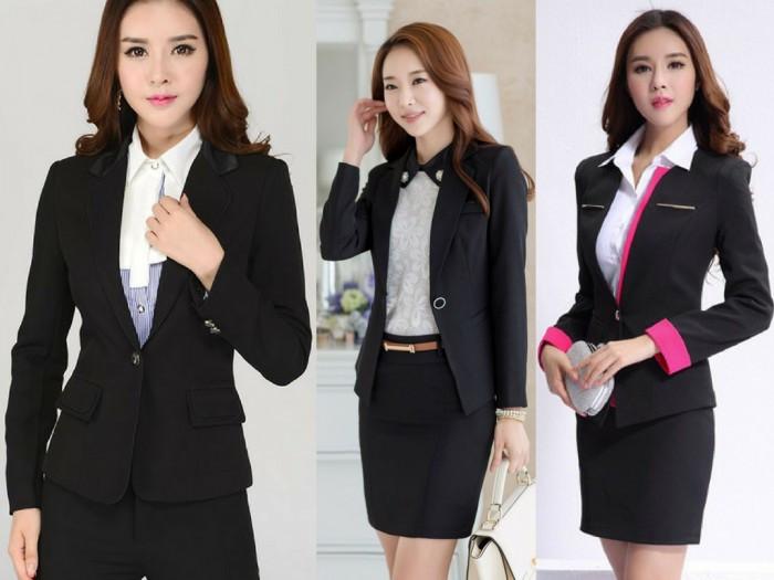 Mẫu đồng phục công sở đẹp: chân váy & áo vest đen