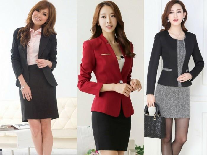 Mẫu đồng phục công sở đẹp: chân váy & áo vest kiểu
