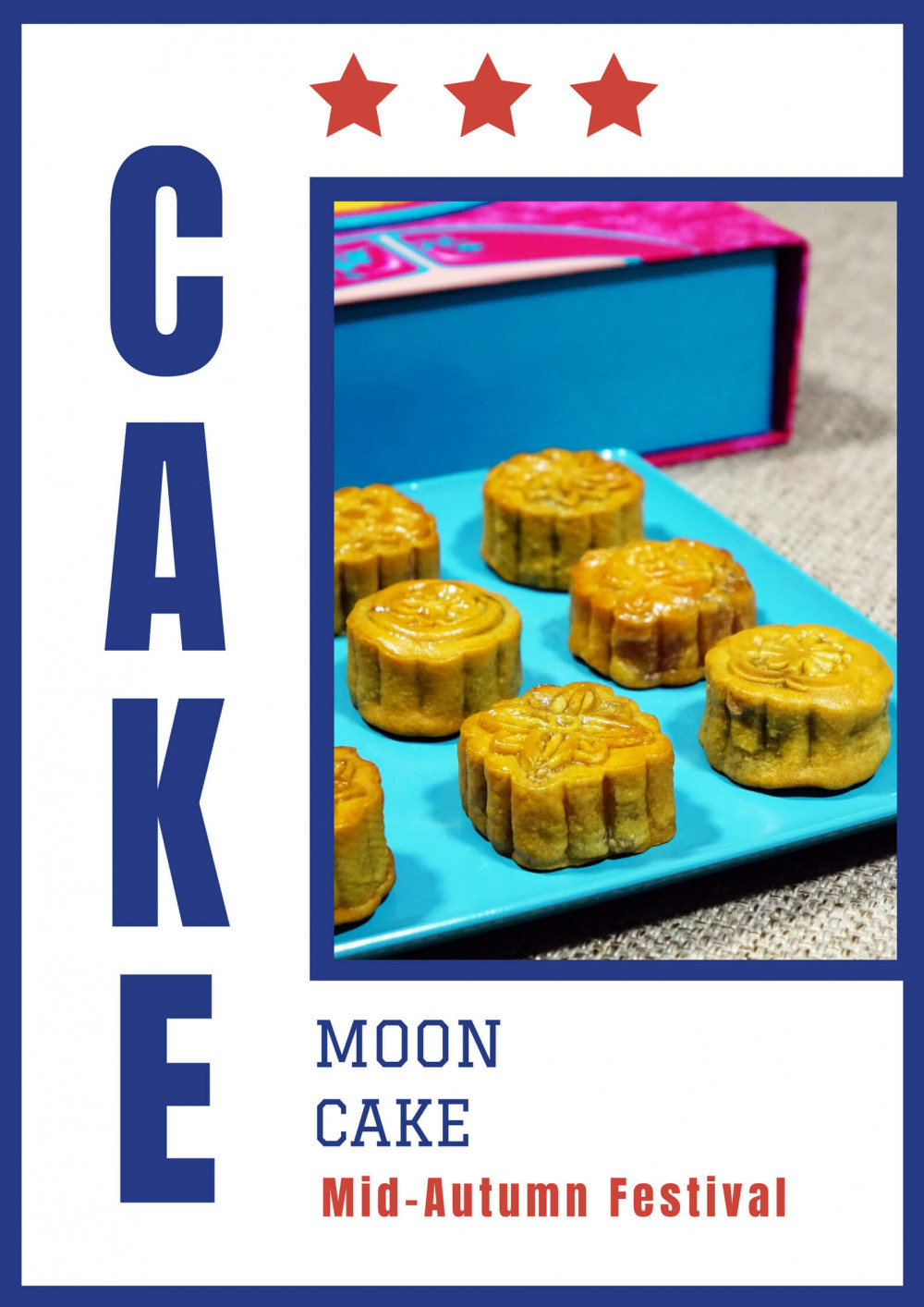 Mẫu poster Trung Thu dán cửa kính: Moon Cake (3)