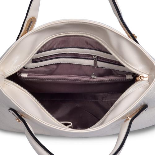 Mẫu bộ 3 túi xách màu trắng - bên trong túi xách lớn