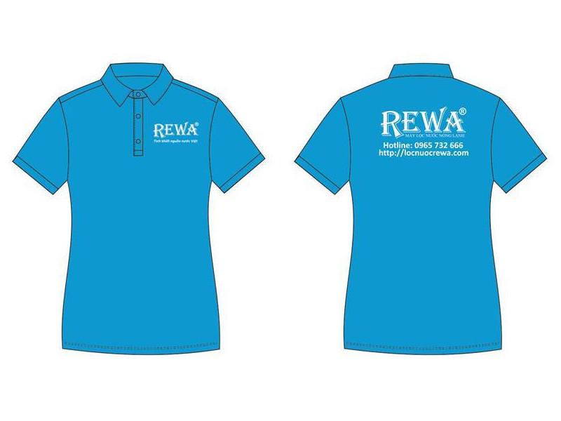 Mẫu áo thun đồng phục nhân viên công ty, cửa hàng màu xanh