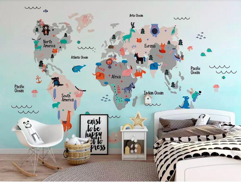Trang trí phòng bé với decal bản đồ thế giới
