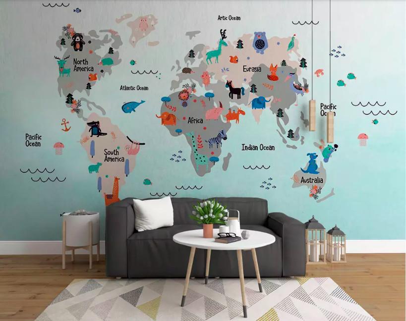 Trang trí phòng bé với decal bản đồ thế giới (2)