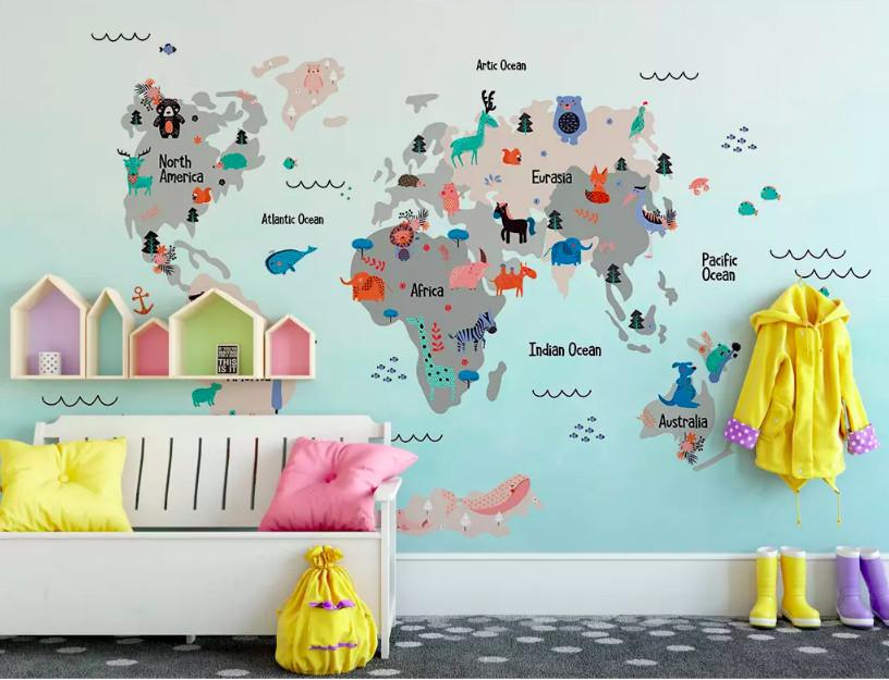 Trang trí phòng bé với decal bản đồ thế giới (4)