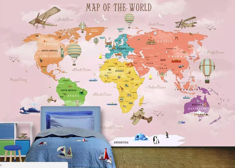 Decal dán tường bản đồ cho bé - trang trí phòng bé đầy sáng tạo (2)