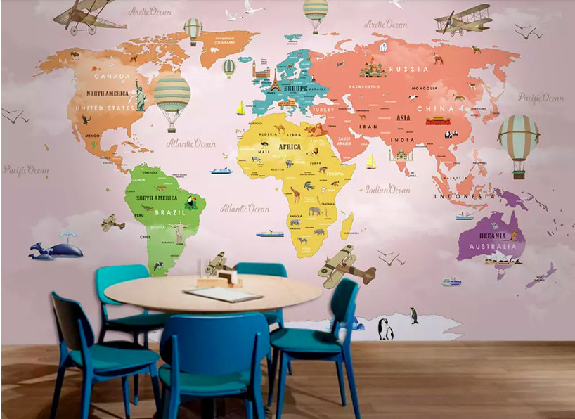 Decal dán tường bản đồ cho bé - trang trí phòng bé đầy sáng tạo (3)