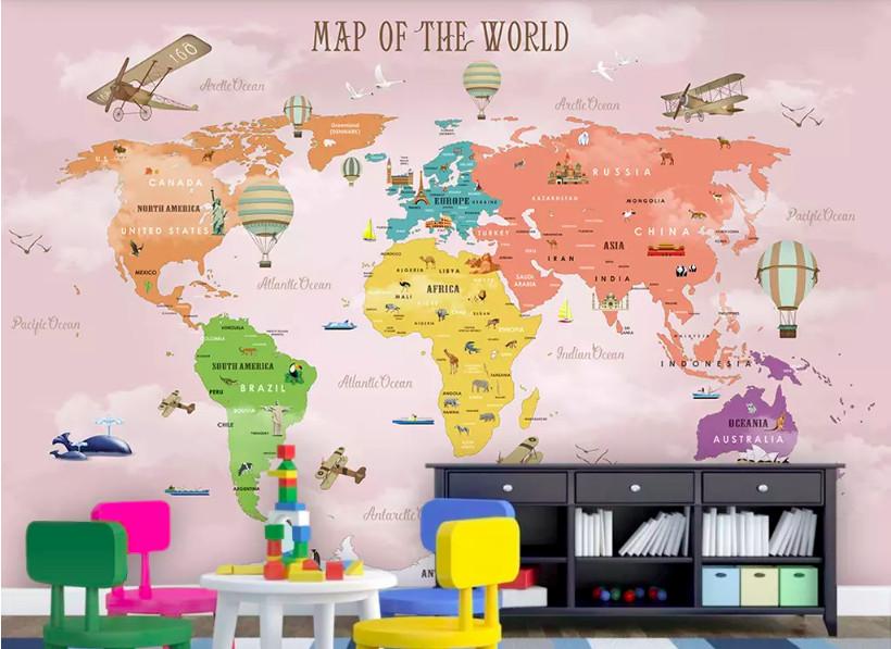 Decal dán tường bản đồ cho bé - trang trí phòng bé đầy sáng tạo (4)