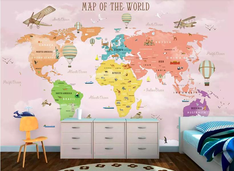 Decal dán tường bản đồ cho bé - trang trí phòng bé đầy sáng tạo (5)