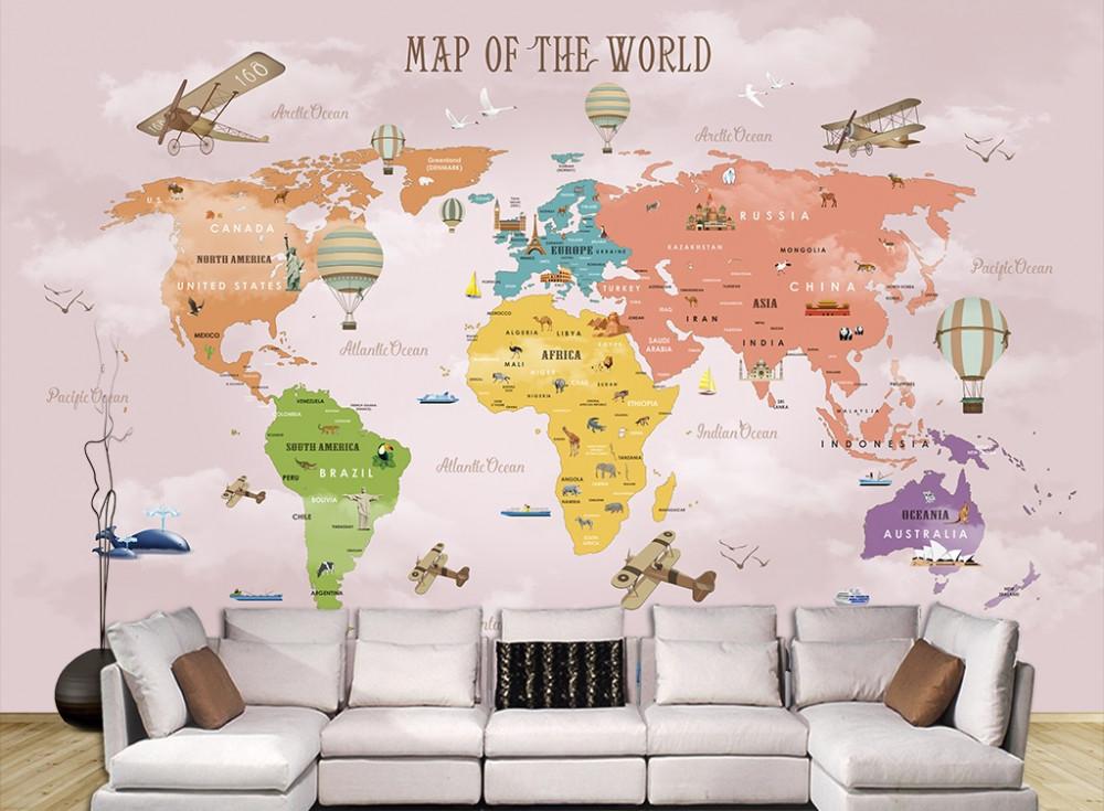 Decal dán tường bản đồ cho bé - trang trí phòng bé đầy sáng tạo (7)