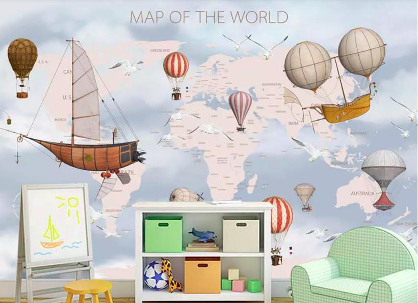 Biến hóa sự đơn điệu trong phòng bé với decal dán tường hình bản đồ (2)