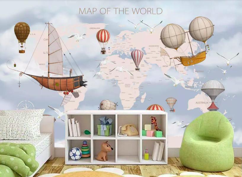 Biến hóa sự đơn điệu trong phòng bé với decal dán tường hình bản đồ (3)