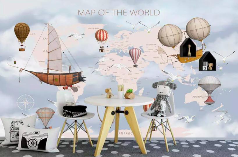 Biến hóa sự đơn điệu trong phòng bé với decal dán tường hình bản đồ (4)