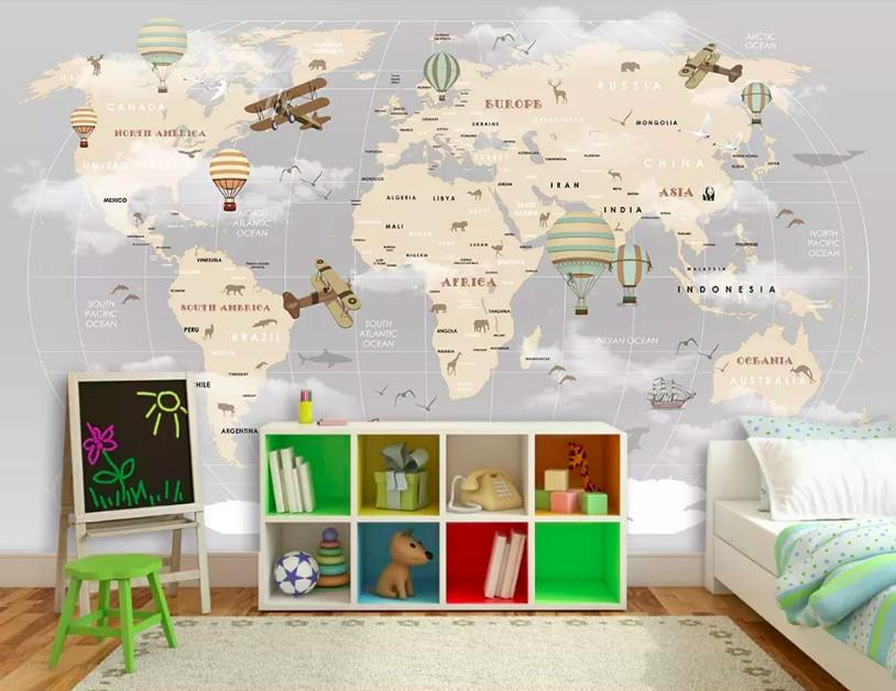 Decal dán tường bản đồ thế giới - kích thích khả năng quan sát và tìm tòi của trẻ
