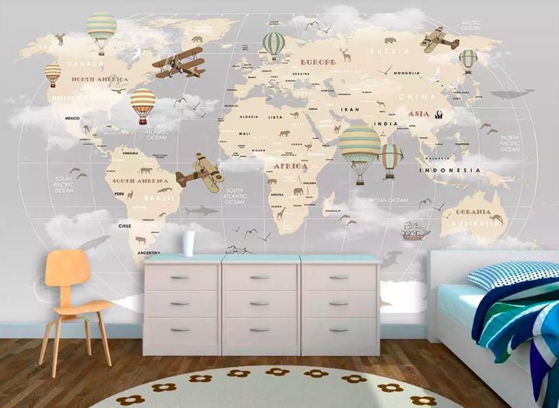Decal dán tường bản đồ thế giới - kích thích khả năng quan sát và tìm tòi của trẻ (1)