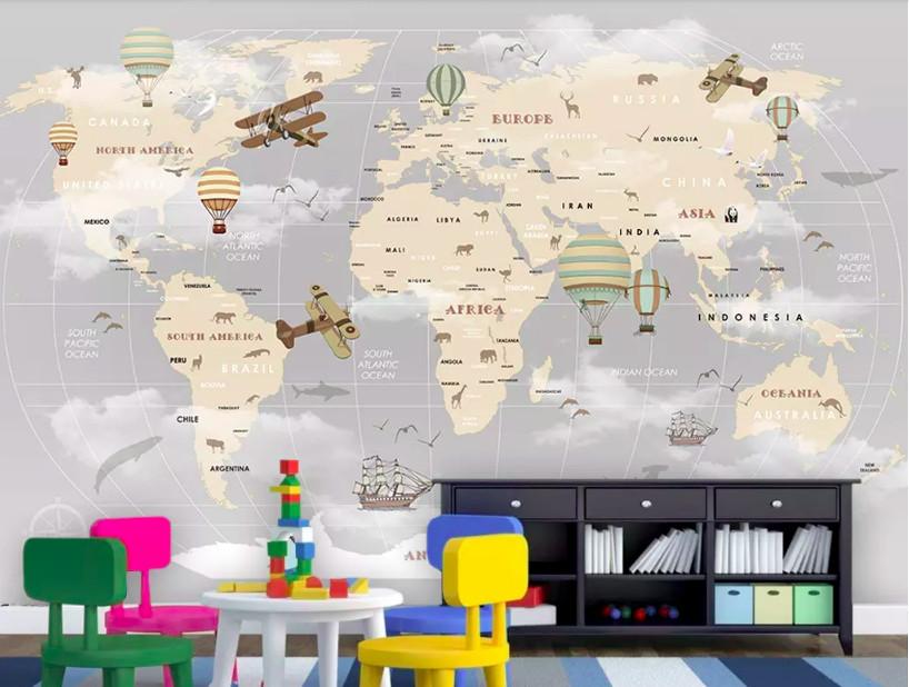 Decal dán tường bản đồ thế giới - kích thích khả năng quan sát và tìm tòi của trẻ (3)