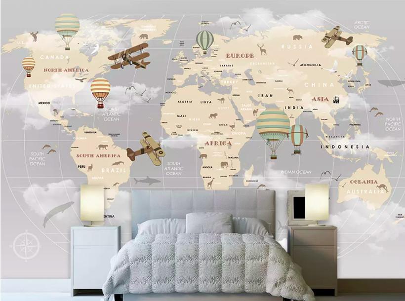 Decal dán tường bản đồ thế giới - kích thích khả năng quan sát và tìm tòi của trẻ (4)