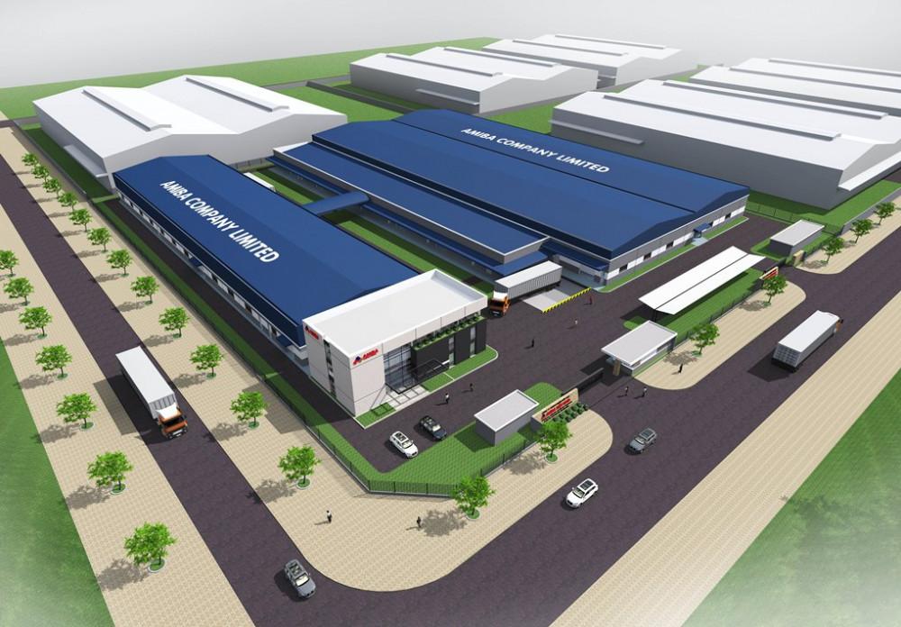 Phối cảnh thiết kế nhà máy in Amiba - Poma - thực hiện bởi công ty Nicon