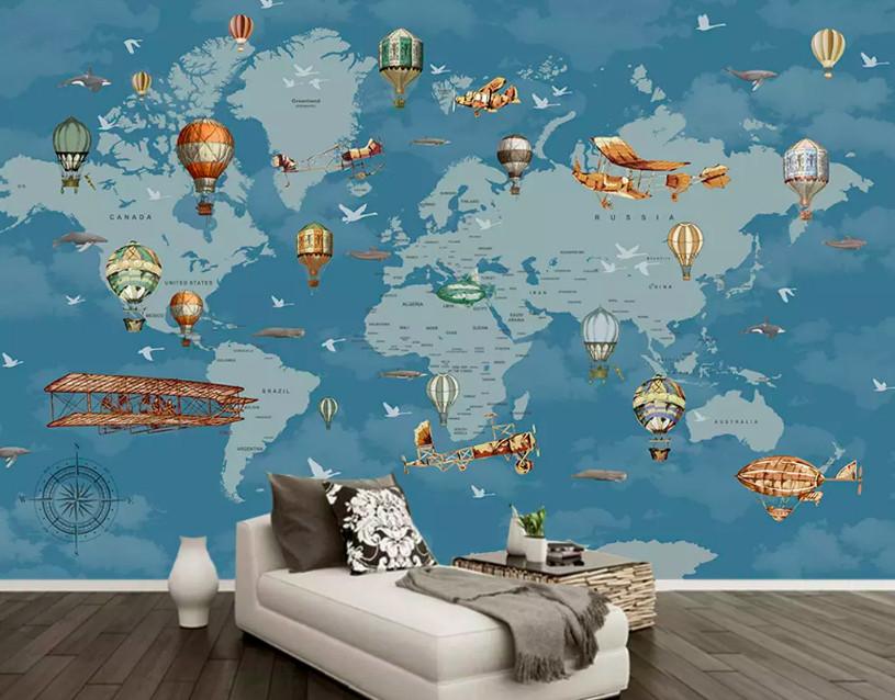 Decal dán tường hình bản đồ thế giới trang trí phòng bé yêu (1)