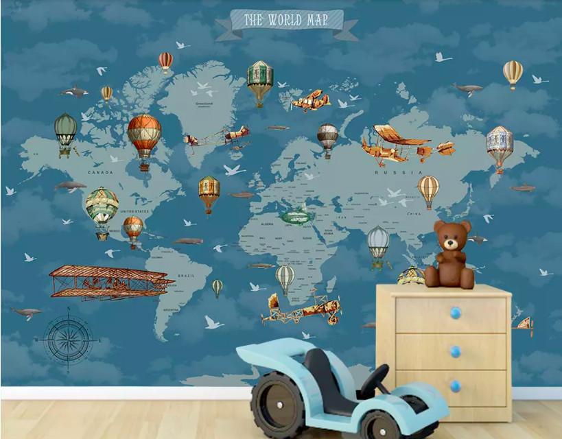 Decal dán tường hình bản đồ thế giới trang trí phòng bé yêu (2)